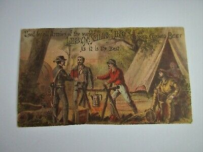 Antique,CIVIL WAR ERA,trade card,LIBBY McNEILL CANNED CORN BEEF,soldier,davy