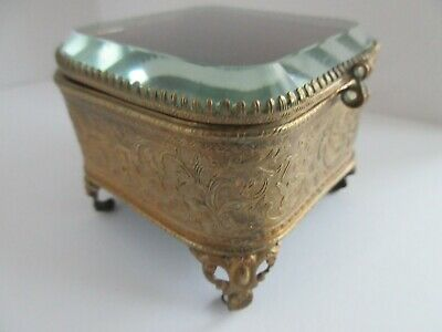 antique,french,?,gilt beveled glass jewelry,casket,box,VERY PRETTY VANITY BOX