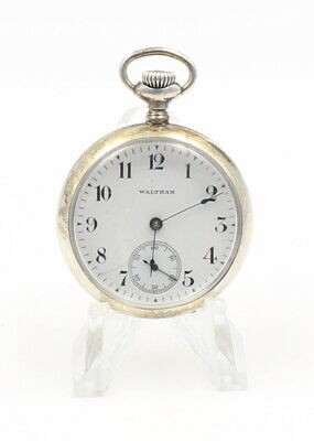 Antique Waltham Sterling Silver Size 0S Model 1900 Pocket Watch Running  6404-10