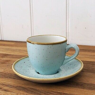 6 Churchill Stonecast Duck Egg Blue Espresso Cups and Saucers - Brand New