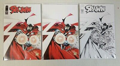 Lot of 3 Spawn #300 Capullo McFarlane Regular + Virgin + B&W Variant Covers NM