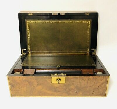 Superb Antique Victorian Burr Walnut Brass Bound Writing Slope Box Bramah Lock