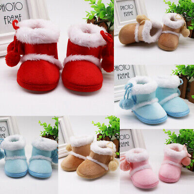 Infant Toddler  Baby Girls Casual Cashmere Plush Winter Boots Bandage Warm Shoes