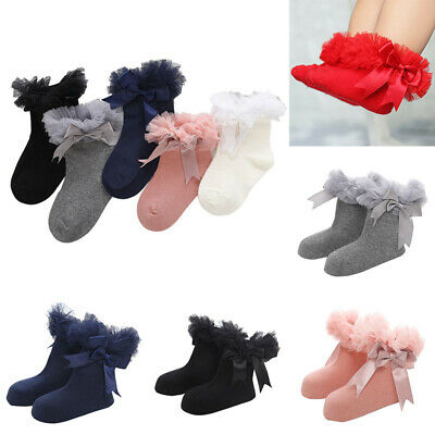 Socks Sock Infant Baby Trim Bowknot Frilly Ruffle Kids Princess Girls Ankle Lace