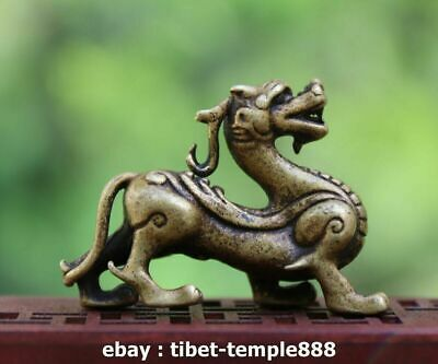 China 100% Pure Bronze Foo Dog Lion Dragon Wealth Animal Amulet Sculpture