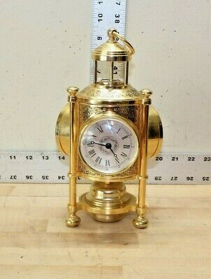 Brass Carriage Lantern Style Clock Barometer Thermometer Compass Weather Station