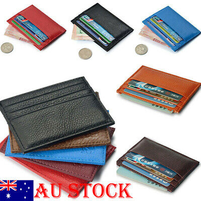 Mens Womens Leather Small ID Credit Card Wallet Holder Slim Pocket Bags AU Stock