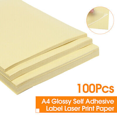 100Pc A4 PVC Clear Glossy Self Adhesive Sticker Laser Print Vinyl Sticker