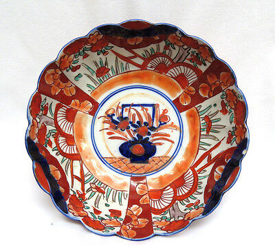 Antique Japanese Hand Painted Imari Bowl ~ Scalloped Edge
