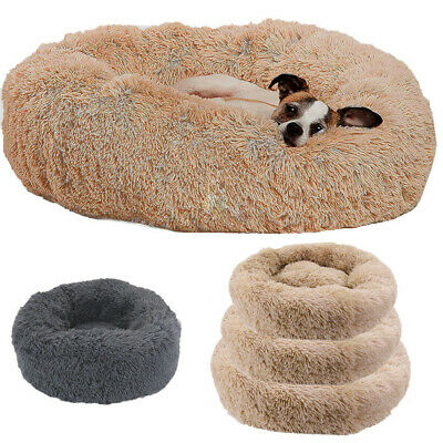 Cat Dog Warm Plush Bed Round Calming Soft Fur Donut Cuddler Pet Sleeping Bed S-L