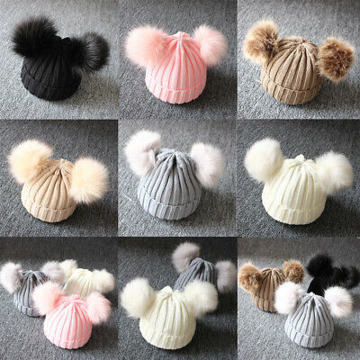 Newborn Baby Boy Girls Winter Warm Double Pom Bobble Knit Beanie Hat Kid Cap