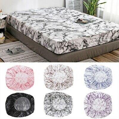 Full Fitted Elastic Sheet Bed Marbled Polyester Mattress Cover Home Bedding