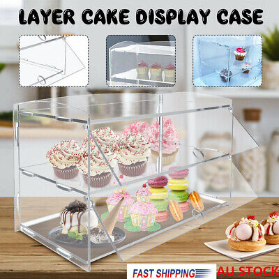 2 Layer Acrylic Bakery Pastry Display Cakes Case Cabinet Stand Donuts Cupcakes