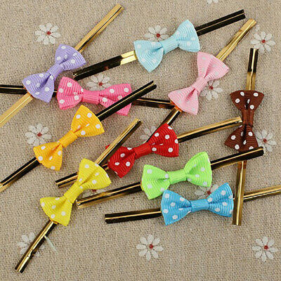 20Pcs Dots Bowknot Metallic Twist Ties Lollipop Cake Sealing Cello Fixed T~GN