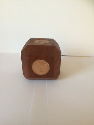 vintage Treen paper weight with old coins inset