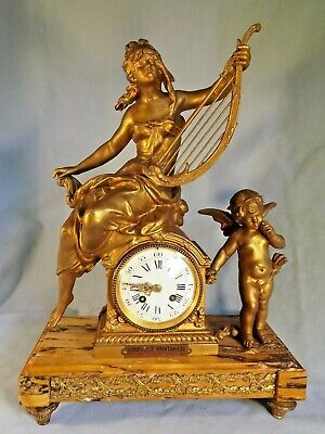 19c French Gilt & Marble Clock C1880.