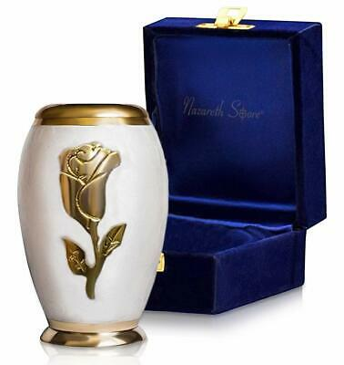 Keepsake Cremation Urn For Human Ashes Elite White Pearl Gold Rose Flower - Box