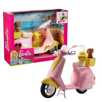 Barbie Moped with Pet Puppy Dog Retro Pink Bike Scooter Mattel FRP56 Toy NEW