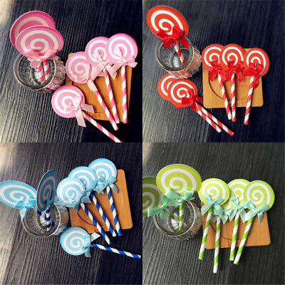 12pcs Colored Cupcake Cake Topper Paper Lollipop With Straw Inserted Card Fla~GN