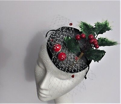 Black Christmas fascinator mini hat with mushrooms,new year party headpiece hair