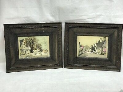 Pair Of Edwardian Oak Framed Engravings Of The English Countryside
