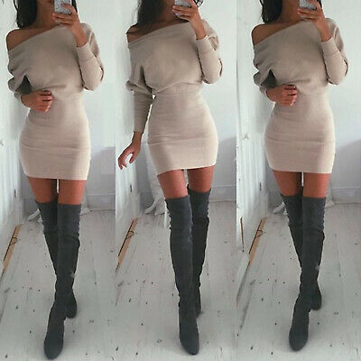 Women Long Sleeve Bodycon Sweater Jumpers Casual Party Slim Fit Short Mini Dress