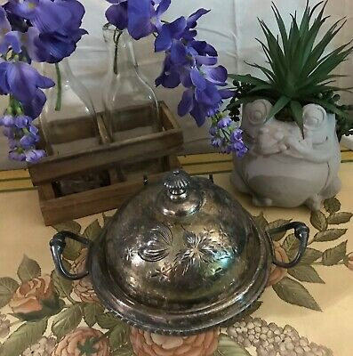 Rare Antique Victorian Floral Domed Butter Dish Mead & Robbins Quadruple Plate