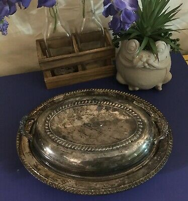 Rare Vintage FB ROGERS Silver Co. Trademark 1883 Oval Serving Dish w/ Lid Floral