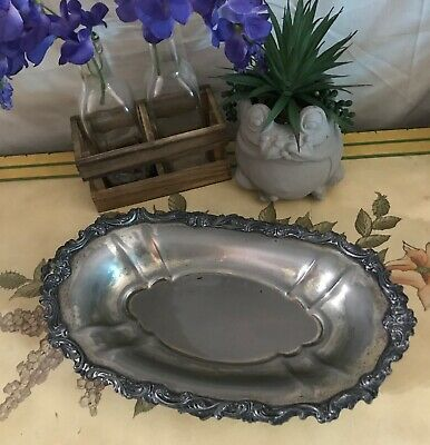 Beautiful Rare Art Nouveau Silver Plated Oblong Copper Footed Serving Tray Dish
