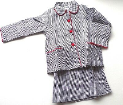 Vintage Original Girls Two Piece Check Outfit Jacket and Skirt 1970's 5-6yrs