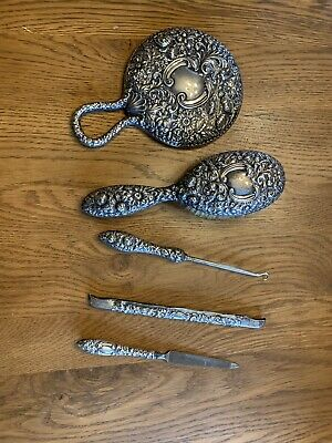 Antique 1890s Gorham Sterling Silver Floral Repousse Brush & Mirror Vanity Set