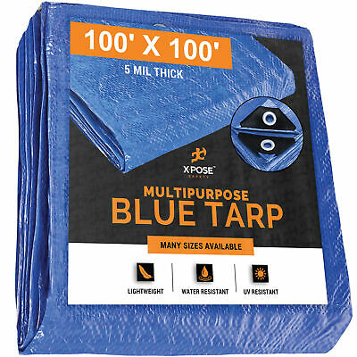 9x12 Blue Tarp Tarpaulin Poly Tent Canopy Cover Camping Ground Sheet w// Grommets