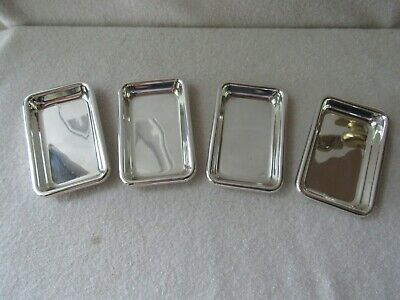Set of 4 Poole Sterling Silver Rectangle Butter Pat Trays Nut Dishes Salts #81