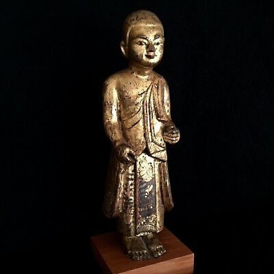 Antique 19Th Century Burmese Mandalay Standing Buddha Disciple Wood Statue.