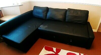 Swell Ikea Black Faux Leather Friheten Corner Sofa Bed With Caraccident5 Cool Chair Designs And Ideas Caraccident5Info