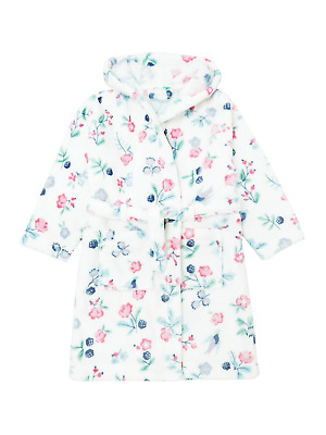 John Lewis & Partners Girls' Floral Berry Robe White - Aged 6