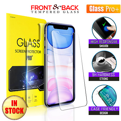 Apple iPhone 11 Pro XS Max X XR 7 8 Tempered Glass Screen Protector (Front/Back)