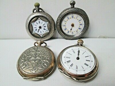 Lot of 4 Antique Silver Ladies Pocket Watches