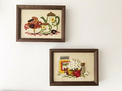 Vintage 1960's Mid Century Modern Kitchen Embroidery Decor Framed Wall Hanging
