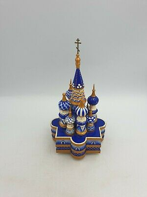 Russian St.basil's Cathedral Wooden Hand Made Painted Musical Ornament Blue Gold