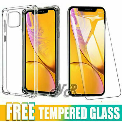 Apple iPhone 11 Pro Max Clear Case Shockproof Heavy Duty Cover +Screen Protector