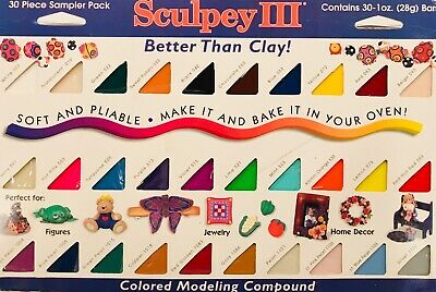 1998 OLD RECIPE Sculpey III 30 x 1 oz Bar Sampler Colored Modeling Compound NEW