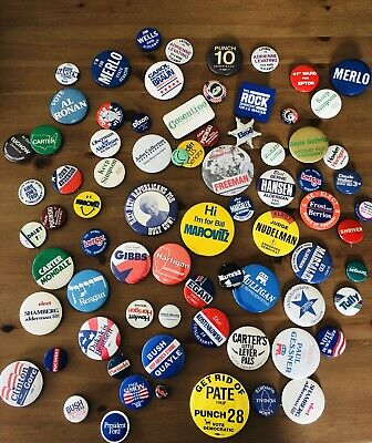 Huge Lot Of Vintage Political Buttons 75 Buttons