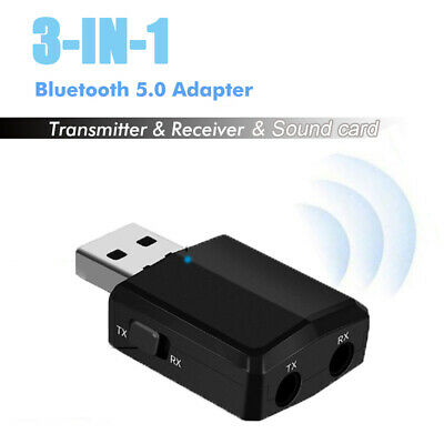 Music Audio Receiver 3 in 1 Bluetooth 5.0 Adapter Sound Card USB Transmitter
