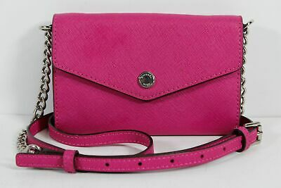 MICHAEL KORS HOT Pink Saffiano Convertible Small Chain Flap