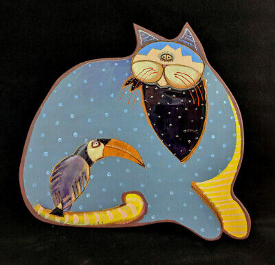 Buggy Whip Studios 1991 Whimsical Wooden Blue Spotted Cat & Toucan Wall Hanging