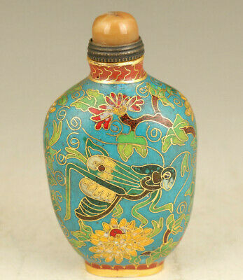 rare chinese old cloisonne Handcarved cricket statue snuff bottle fine gift
