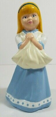 Hand Painted Girl Figurine Blue & White holding apron to collect flowers, fruit