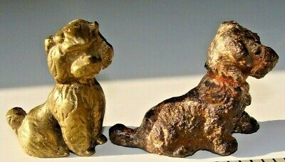 Antique Cast Iron Puppy Dog Paperweight & Vintage Brass Poodle Paperweight