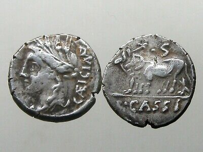 CASSIA 4 SILVER DENARIUS_______Roman Republic_______TWO YOKED OXEN WITH PLOW